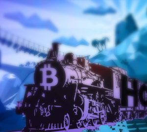 Graphic illustration of an wild-west styled train with a Bitcoin logo at the front hurtling through the countryside