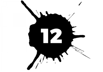 The number 12 in a black circle superimposed on a black splatter, representing blood