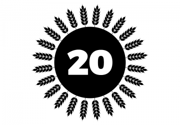 The number 20 in a circle encircled by sheathes of wheat, representing Blockgrain