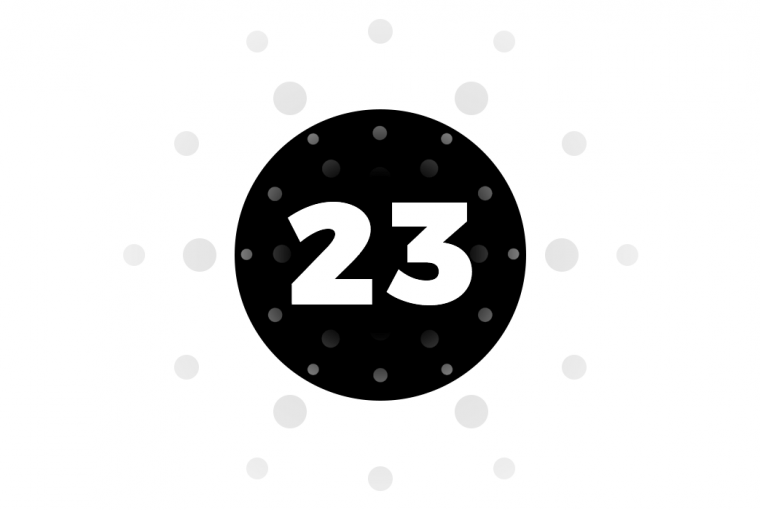 Black circle with number 23