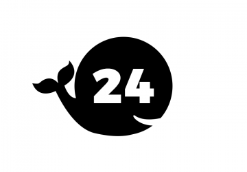 The number 24 superimposed on a circle which has been distorted to look like a whale