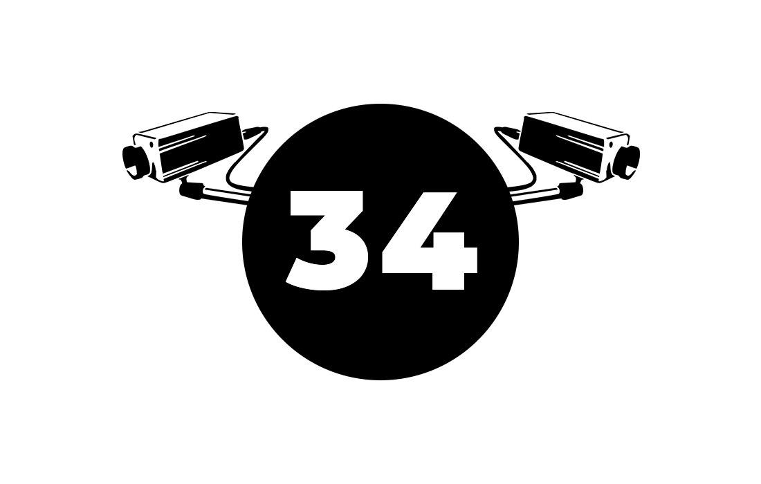 Circle with '34' in it and surveillance cameras