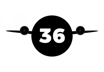 A black circle with the number 36, with wings and an engine, representing the Passerine bird-inspired drone