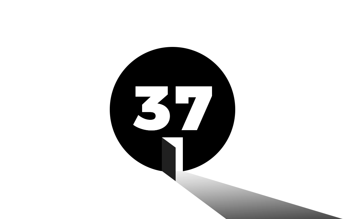 A circle with the number 37. The circle has a doorway cut out of it, with a light beam emanating from within, representing the real-life potential of blockchain technology