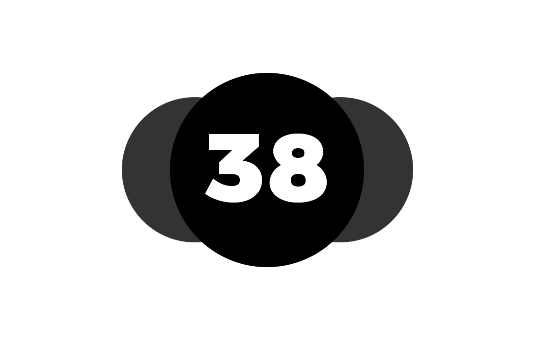 A circle with the number 38 in front of two translucent circles, representing the three Bitcoins