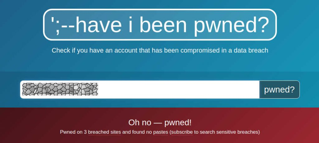 Screenshot of the Have I Been Pwned Website