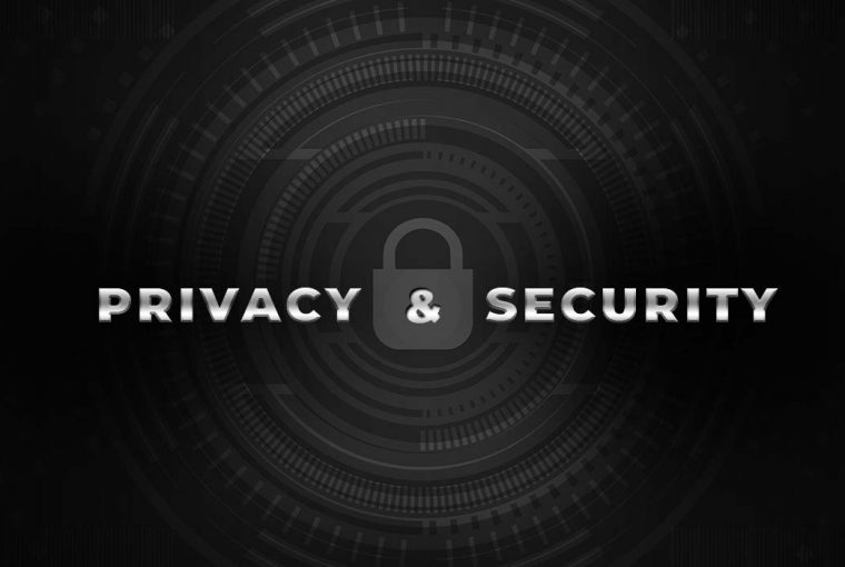 """The words """"Privacy & Security"""" superimposed on a geometric padlock illustration"""