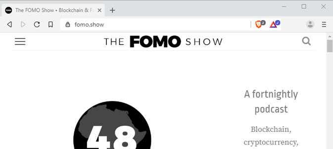 Screenshot of the Brave Desktop Browser, on the FOMO Show Website