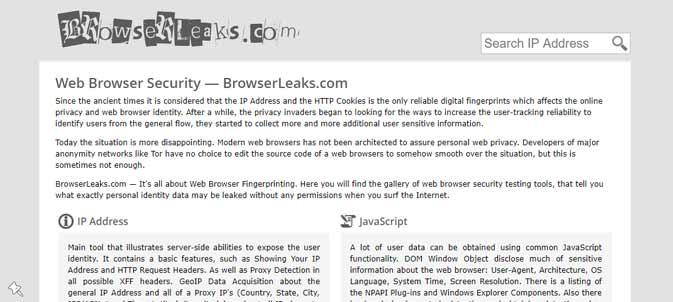 Screenshot of the BrowserLeaks.com homepage