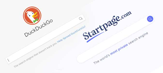 Screenshot of two privacy-friendly search engines, DuckDuckGo and Startpage