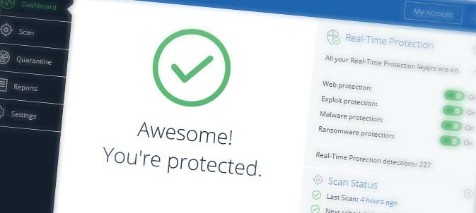 """Awesome! You're Protected."" A rotated screenshot of Malwarebytes Premium, comprehensive Anti-Malware Software, showing real-time protection against web attacks, exploits, malware and ransomware, as well as real-time protection detections and malware scan status."