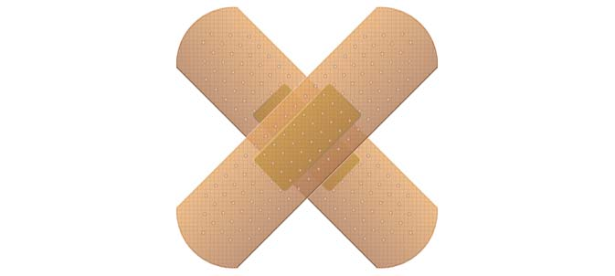 Two band-aids criss-crossed, forming a cross.