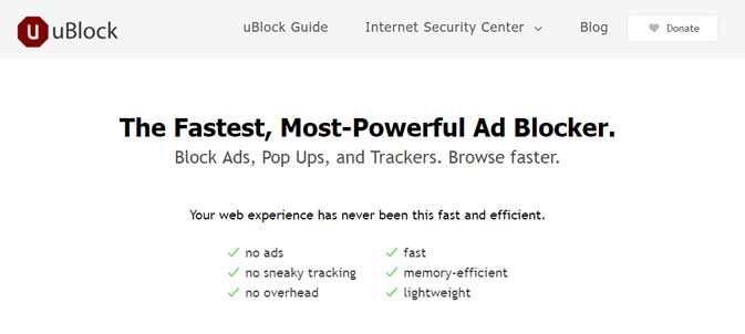 Screenshot of the Ublock Ad Block Browser Extension Homepage