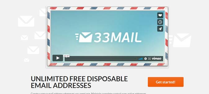 Screenshot of the 33mail homepage